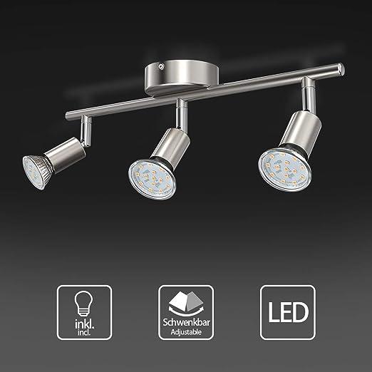 Uchrolls Lámpara de techo LED giratoria, 3 llamas, incluido 3 x ...