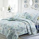 Cozy Line Home Fashions Porcelain Vase Quilt Bedding Set, White Jasmine Tiffany Blue Floral Cotton Reversible Coverlet Bedspread,Gifts for Women, (Porcelain Vase, Queen - 3 Piece)