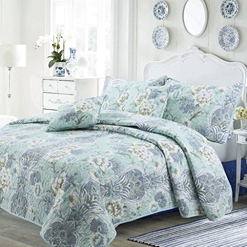 Cozy Line Home Fashions Porcelain Vase Quilt Bedding Set, White Jasmine Tiffany Blue Floral Cotton Reversible Coverlet Bedspread,Gifts for Women, (Porcelain Vase, King - 3 Piece)