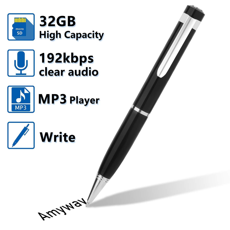 Bolígrafo Grabador de Voz Digital,Grabadora de Audio y Voz Reproductor de MP3 con Tarjeta Micro SD de 32GB, Cable USB, Lector de Tarjetas, 5 Recargas