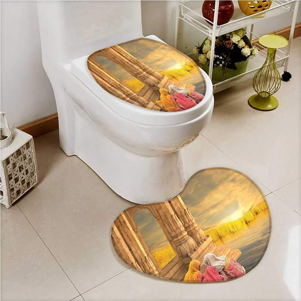 2 Piece Toilet Cover set India Women in a Temple Holy Heritage Earth Yellow Pink in Bathroom Accessories