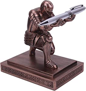 Amoysanli Knight Pen Holder Desk Organizers and Accessories Desk Decor Resin Pen Holder as Gift with a Cool Pen for Office and Home (Bronze)
