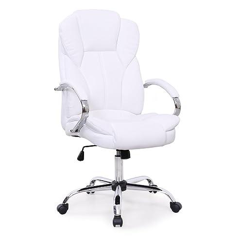 Chefsessel weiß  Bürostuhl Chefsessel Drehstuhl hohe Lehne Chrom hochwertig (Weiß ...