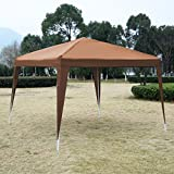 Coffee 10'X10' EZ POP UP Canopy Tent Gazebo Wedding Party Shelter Carry Bag