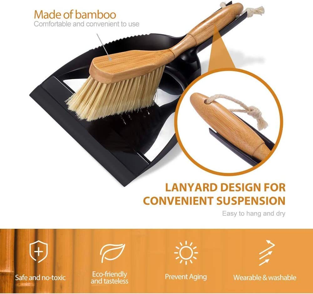 Bamboo Brush and Dustpan Set with Duster Comfort Grip Dustpan and Brush Set for Office Home School Masthome