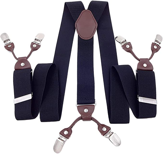 New Men/'s Elastic Wide Work Suspender Braces X-Back Stainless steel Clips on A9