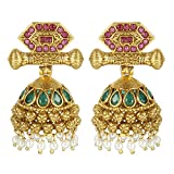 MUCH-MORE Indian Amazing Style Gold Plated Party Wear Polki/Jhumka Earring Jewelry for Women (7435)
