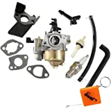 HURI Carburateur + Joint + Bougie d'allumage + pour Honda GX140 GX160 GX200 5.5HP 6.5hp Moteurs Remplace 16100-ZH8-812 / 16100-ZE1-844