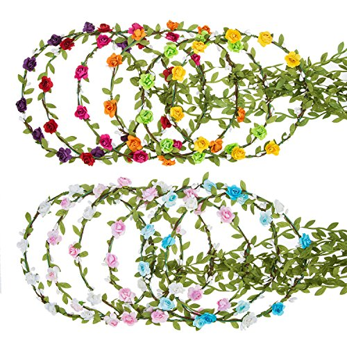 Flower Head Wreath - eBoot 12 Pieces Flower Crown Wreath Floral Garland Headbands for Wedding Beach Festival (Multicolor)