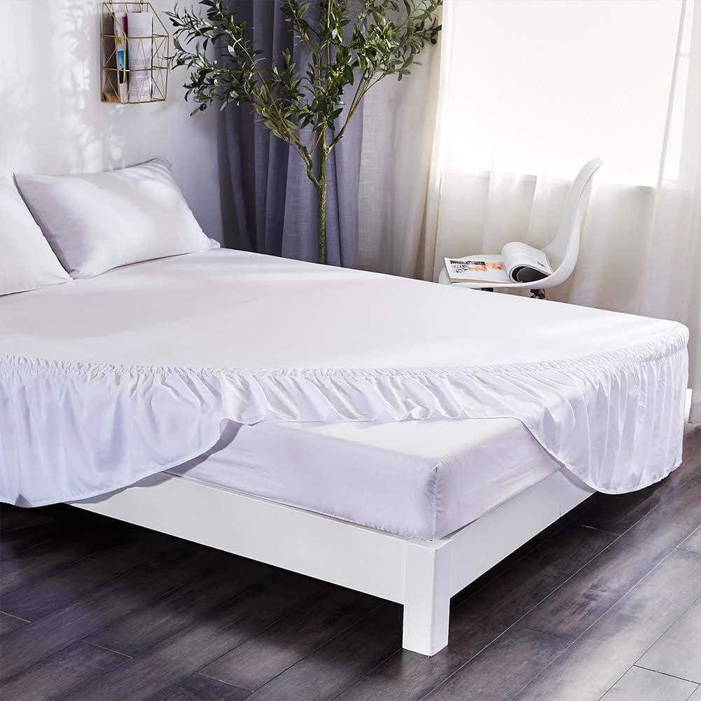 XuBa - Falda de cama elástica con volantes, color marrón ...
