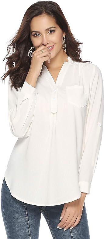 Abollria Camisa Elegante Manga Larga Ajustable para Mujeres Blusa Chiffon para Oficina Camiseta Cuello V Primavera Verano Otoño: Amazon.es: Ropa y accesorios