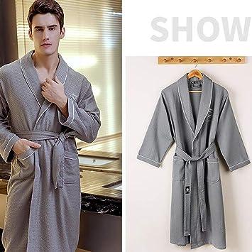Pajamas Traje de Pijama, algodón con Bolsillos Albornoz, corsé de Solapa con Lazo de