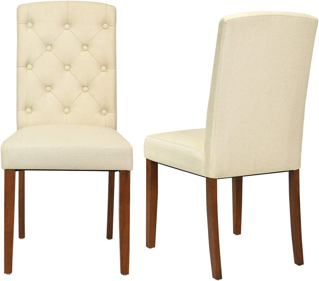 Giantex Set of 2 Fabric Dining Chairs, 2 PCS Armless Side Chairs, Upholstered Cushion Solid Rubber Wooden Legs, Button-Tufted Sponge Backrest, Mid Century Style, Home Kitchen Living Room Beige