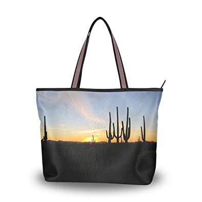 Amazon.com  WIHVE Sunset Cactus Women s Tote Bag Top Handle Satchel ... 2983457f2d94d