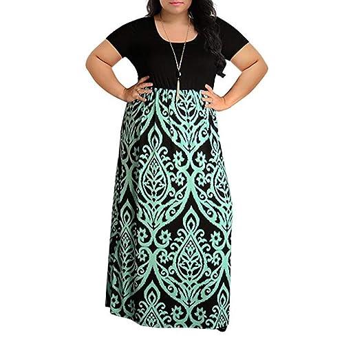 Manadlian_Vestido de mujer Vestido de Mujer Verano 2018 Mujer Rayado Largo Boho Vestido Lady Beach Verano Sundress Maxi Vestido de Talla Grande Vestidos Largos de Fiesta
