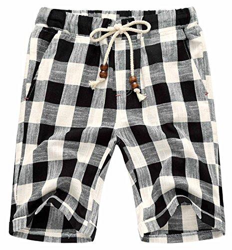 AIEOE Men Hawaiian Shorts Classic Hand Pockets Drawsrting Comfortable Cotton Linen Shorts for Big Boys 32 Plaid Black