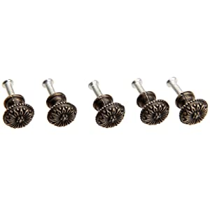 "Dophee 5Pcs 0.67""x 0.59"" Antique Bras Round Jewelry Box Pull Handle Drawer Cupboard Wardrobe Cabinet Flower Pattern Knob"