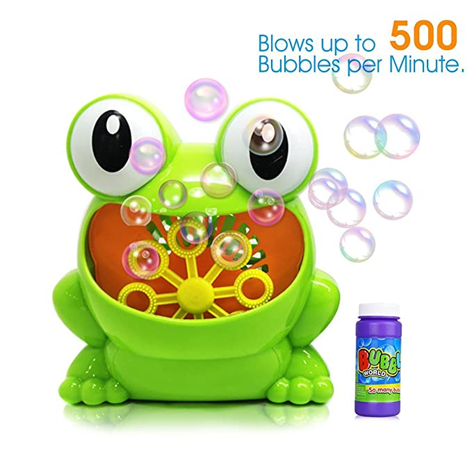 Aerfgo Kids Bubble Blower Machine Automatic Over 500 Bubbles per Minute for Kids Birthday Party Making, 1 Bottles 4.2 Fl Ounce Bubble Solution Included (Frog bubble machine)