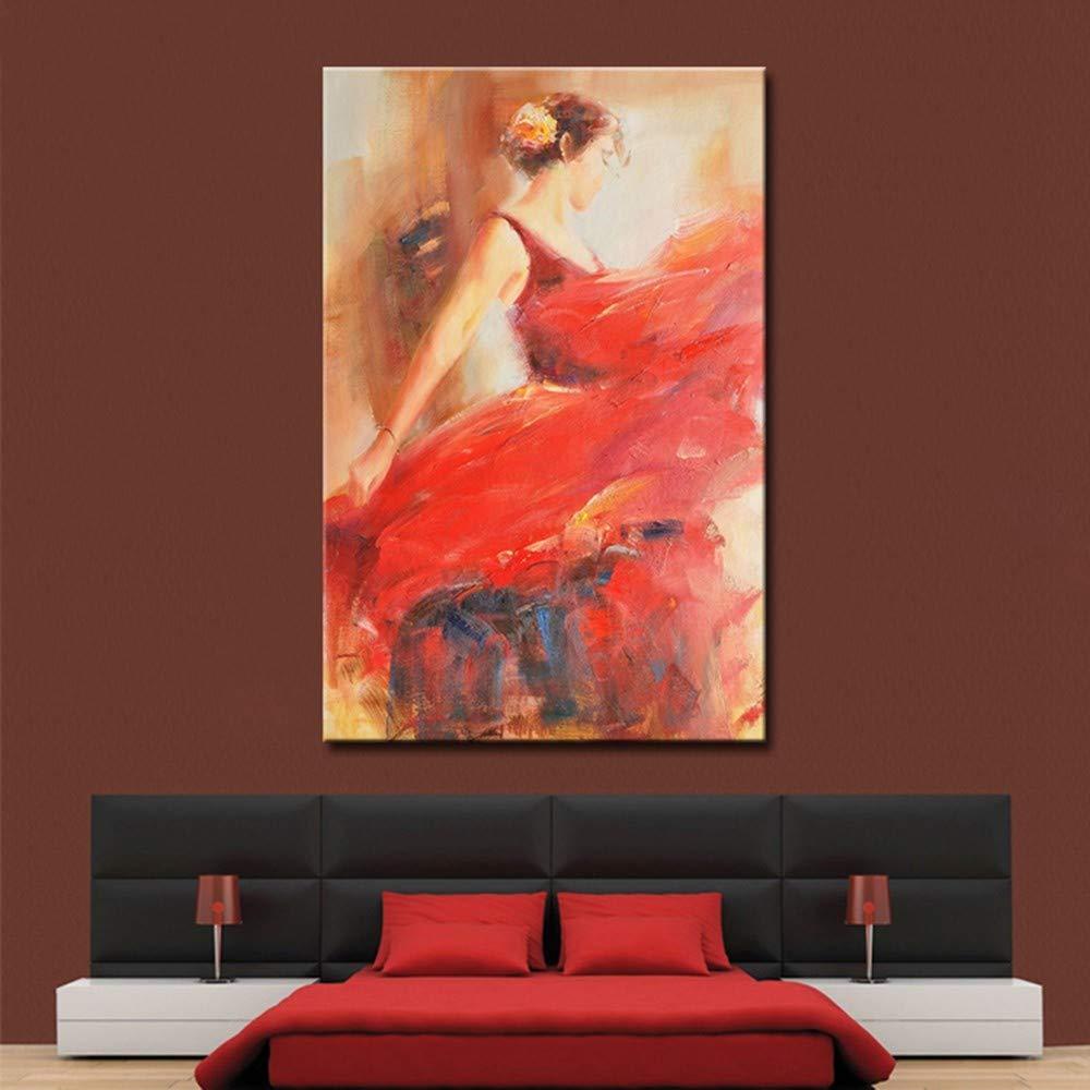 OME&MEI Pintura Al Óleo Pintada A Mano Bailarina Roja Roja Roja Mural Inicio Pintura Mural Pared Mural Pintura Decorativa Moderna-50X70Cm da161b