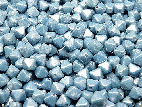 30pcs Czech Glass Pressed Bicone Lantern Beads 6mm, Chalk Blue Luster