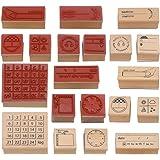 TOYANDONA Wooden Stamps DIY Wood Stamper Decorative Seal Stamp for DIY Scrapbooking Craft Card Photo Album Diary 4 Sets…