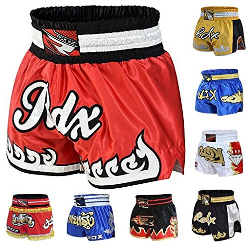 RDX Pro Muay Thai Fight Shorts MMA Grappling Kick Boxing Trunks Martial (Thai Kickboxing Shorts)