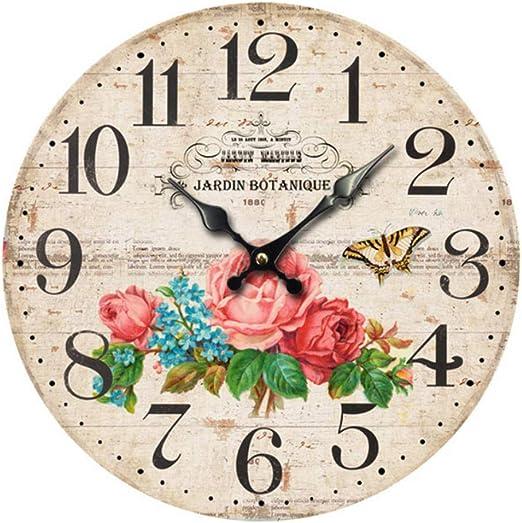 BVCK Photo Wall Clockmariposa Flores Jardín De Reloj De Madera Vintage: Amazon.es: Hogar