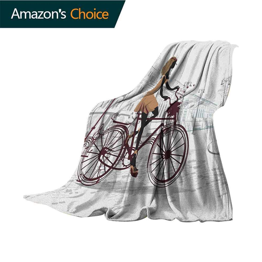Teen Room Weighted Blanket,Young Girl in Paris Streets with Bicycle French Style Display Microfiber All Season Blanket for Bed or Couch Multicolor,35'' Wx60 L Chestnut and Pale Brown Pearl