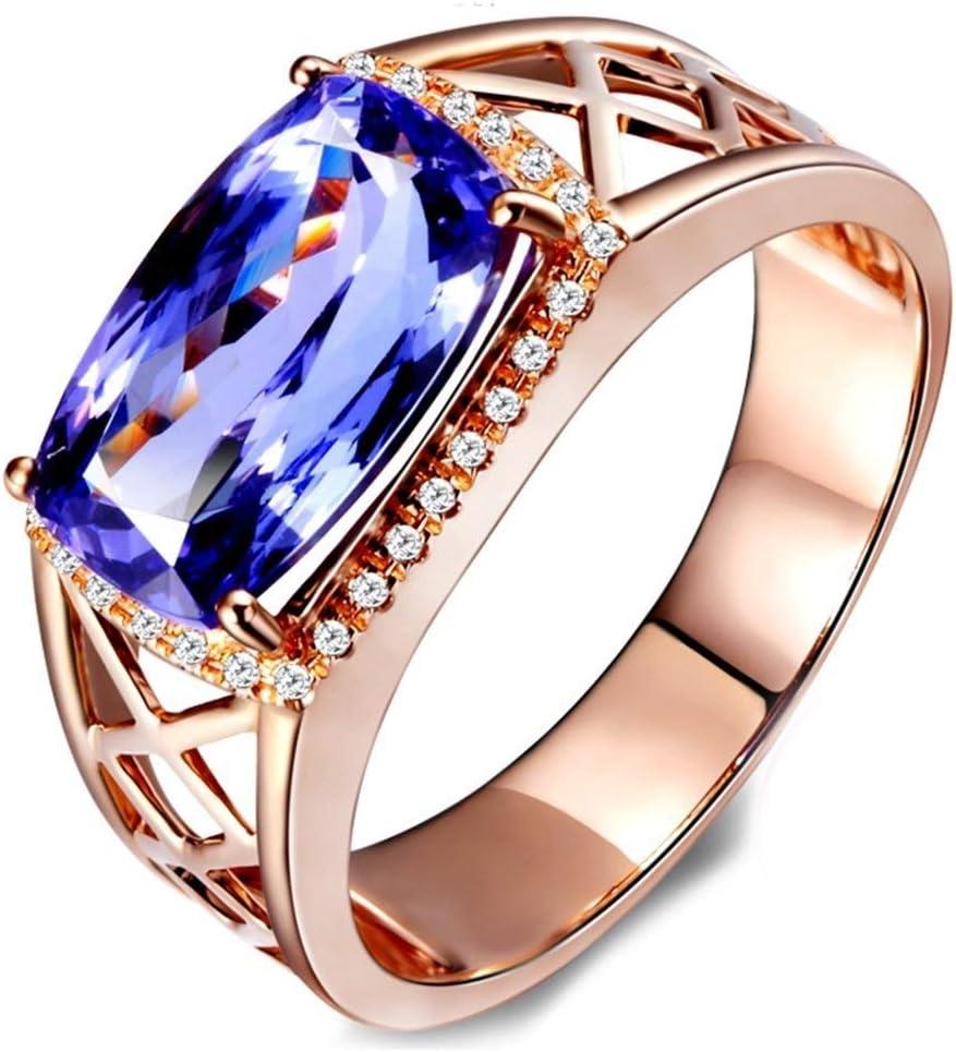 Collar para Hombre con Piedras Preciosas de tanzanita Azul Natural, Anillo de Compromiso de Boda, Anillo de Oro Rosa de 14 Quilates, tamaño del Anillo: Y 1/2