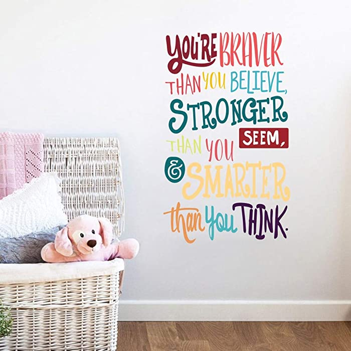 Colorful Inspirational Lettering Quote Wall Decal-You're Braver Than You Believe,Stronger Than You Seem,Smarter Than You Think, Positive Quote Sticker for Classroom Kids Decoration
