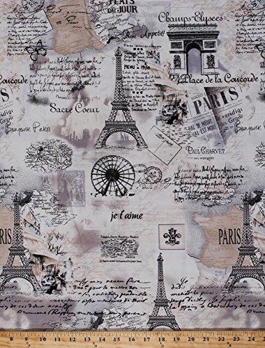 Cotton Paris Eiffel Tower France Travel Tourist Map Script Cotton Fabric By the Yard (Paris-c9661-cream)