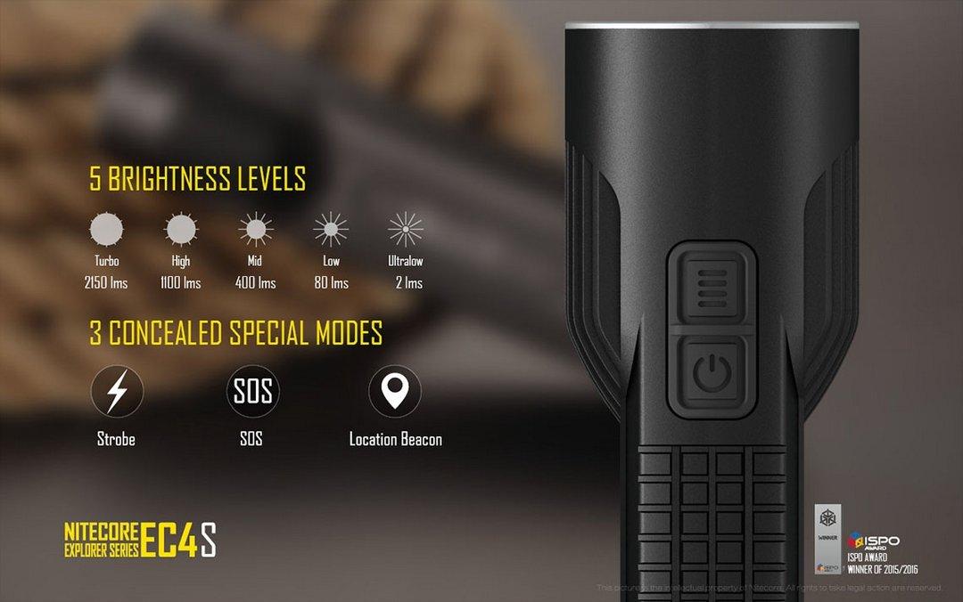 Bundle - 5 Items: NiteCore EC4S 2150 Lumens CREE XHP50 LED Flashlight with 2x Nitecore 18650 Rechargeable Batteries, Nitecore i2 Smart Charger and LumenTac Battery Organizer by Nitecore (Image #5)