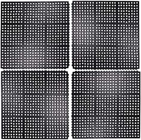Iron Gate 4 Piece Interlocking Anti-Fatigue Tile Rubber Restaurant Mat – 100 Solid Rubber – Size 3 feet x 3 feet Square – Heavy Duty Rugged Commercial Professional Grade Construction