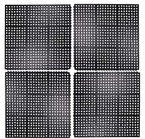 (Iron Gate 4 Piece Interlocking Anti-Fatigue Tile Rubber Restaurant Mat - 100% Solid Rubber - Size 3 feet x 3 feet Square - Heavy Duty Rugged Commercial Professional Grade)