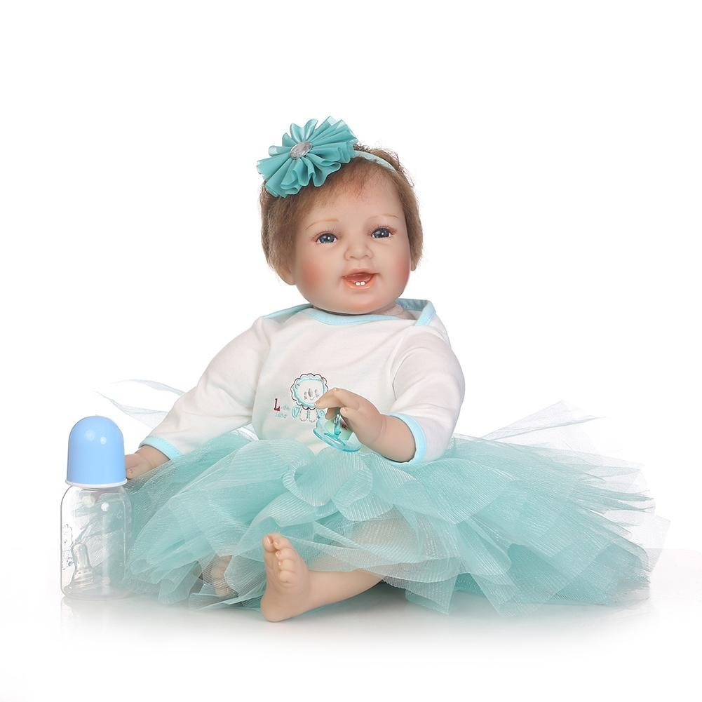 chinatera Little Girls Toy NPK Lovely Realistic Simulation Reborn Doll Soft Silicone Lifelike Artificial Kids Cloth Dolls by chinatera (Image #6)
