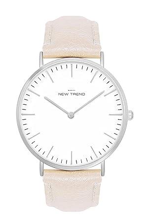 Reloj mujer RELOJ DE HOMBRE UNISEX Color Plata + Varios Colores Pulsera Beige Marrón