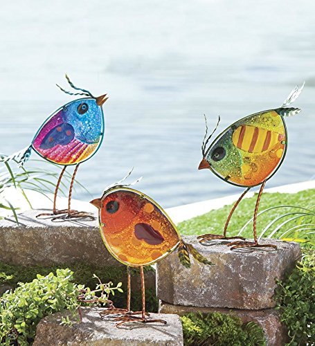 Wind & Weather SC8108 Set of 3 Glass Bird Garden Statue, 7.5 x 4.5 x 12.5 Inches, Multi-Colored