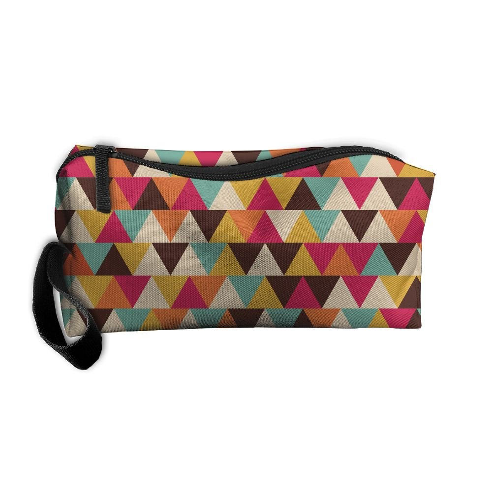 819df2a77b low-cost Colorful Triangle Printing Pattern Makeup Bag Calico Girl Women  Travel Portable Cosmetic Bag