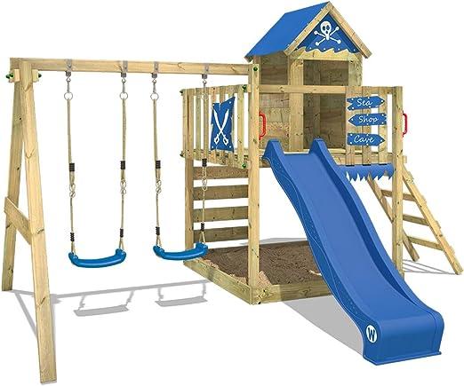 WICKEY Parque infantil de madera Smart Cave con columpio y tobogán azul, Casa de juegos de jardín con arenero y escalera para niños: Amazon.es: Bricolaje y herramientas