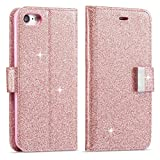 iPhone 6 Case, iPhone 6S Wallet Case, iPhone 6 Leather Cover, LCHULLE Luxury Shiny Sparkle Glitter Bling PU Leather [Magnetic Closure][Metal Buckle] Flip Folio Kickstand Wallet Case with 5 Card Slots-Rose Gold
