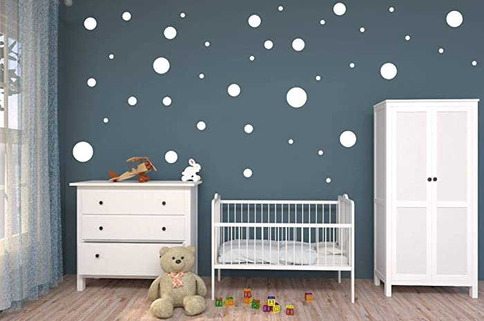Amazoncom Polka Dot Dots Wall Decals White Vinyl 24x12