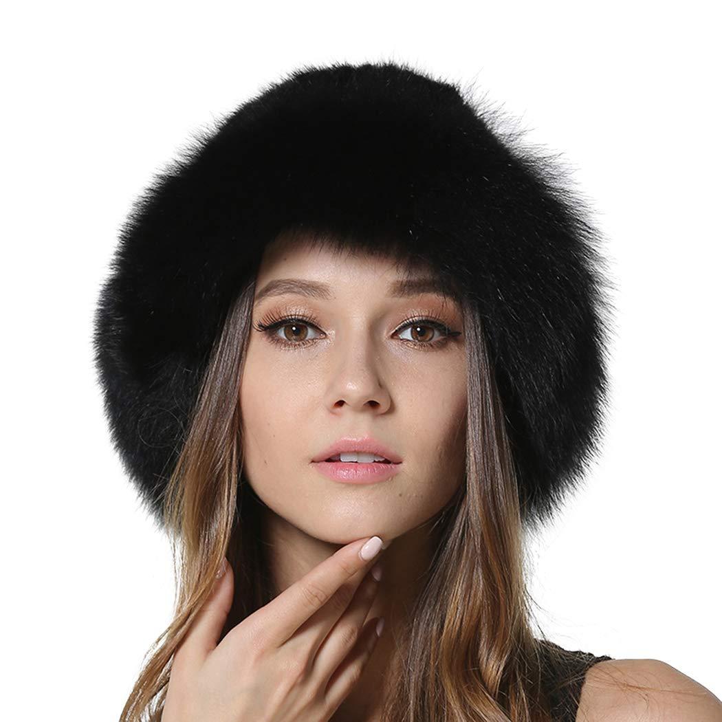 DJBM Womens Winter Hat Knitted Mink With Fox Brim Real Fur Hats Black