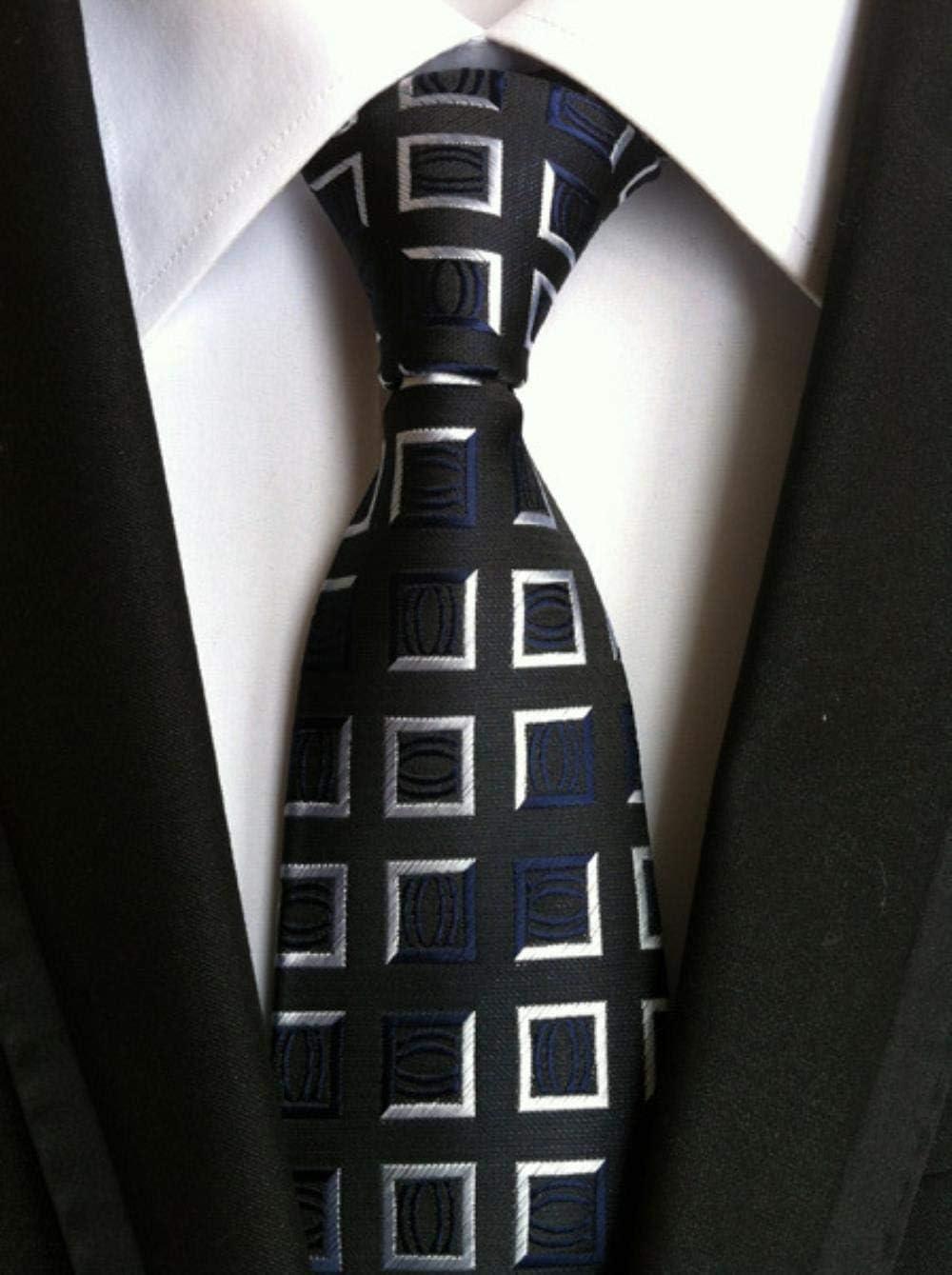 Salida De Fábrica VLOU 18 Colors 8cm Silk Necktie for Man Plaid&Striped GeometricTies Man'S Wedding Party Necktie,LHX-15 Lhx-11 NosxWI