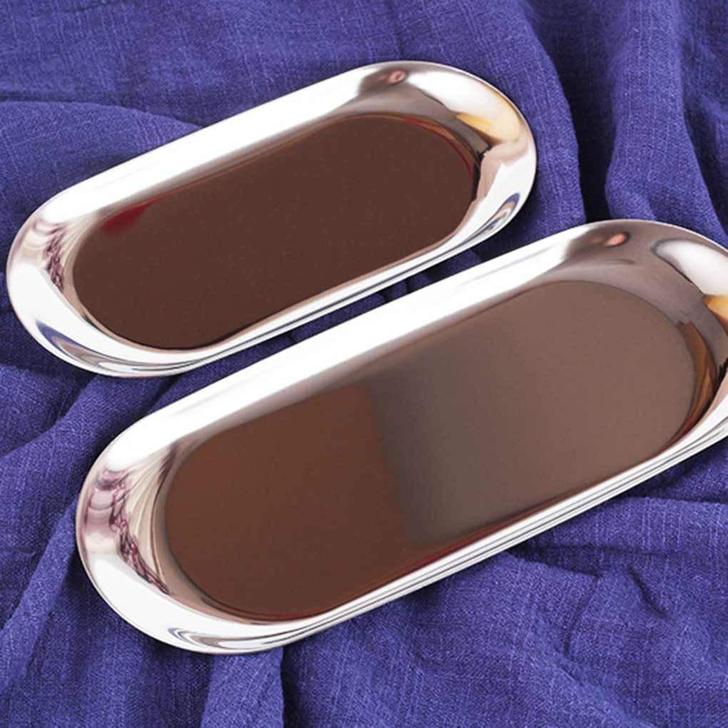 Topker Plateau de Rangement en m/étal Plaque Serviette Bijoux Ovale en Acier Inoxydable Plateau de Petits Objets Dessert Assiette Plat Article d/écoratif