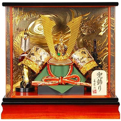五月人形 兜 ケース飾り 長鍬T アクリルパノラマ 王朝/焦茶塗 15号 幅42cm [sb-3-26] B07N8M39VH