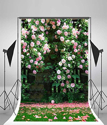 OFILA Flowers Blossoms Backdrop 3x5ft Petal Grass Lawn Old Brick Wall Springtime Photos Newborn Baby Theme Background Little Girl Photos Valentine's Day Anniversary Gifts Children Toddlers Shoots Cheerful Blossoms