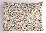 Ambesonne Mexican Pillow Sham, Colorful Nature Inspired Ethnic Pattern Birds Flowers Leaves and Dots Creativity, Decorative Standard Queen Size Printed Pillowcase, 30 X 20 inches, Multicolor