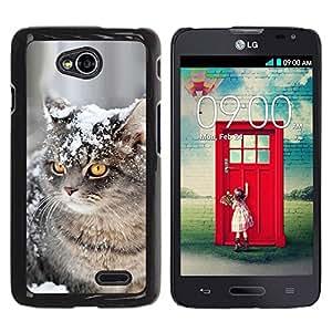 YiPhone /// Prima de resorte delgada de la cubierta del caso de Shell Armor - American Curl Shorthair British Cat Snow - LG Optimus L70 / LS620 / D325 / MS323
