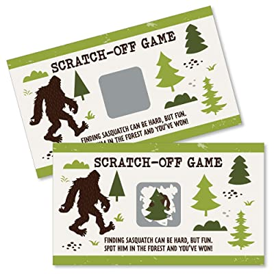 Big Dot of Happiness Sasquatch Crossing - Bigfoot Party or Birthday Party Game Scratch Off Cards - 22 Count: Toys & Games
