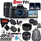 6Ave Canon EOS Rebel T6i DSLR Camera w/18-55mm Lens International Version (No Warranty) + Canon 55-250mm IS STM Lens + Canon EF 50mm f/1.2L USM Lens 1257B002 + Deluxe Cleaning Kit Bundle